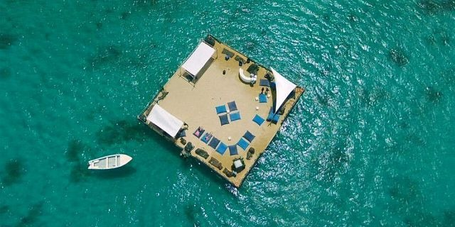 Floating beach on the sea