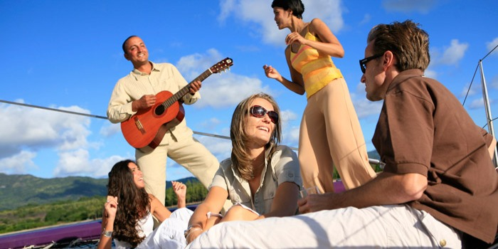 Enjoy some good music on the catamaran