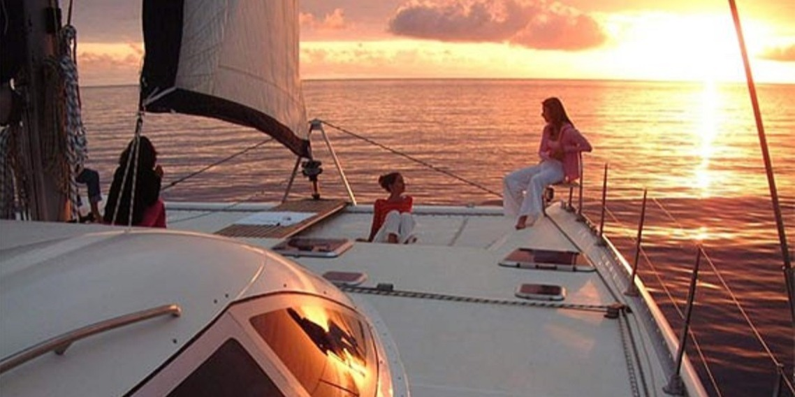 Sunset trip on Catamaran